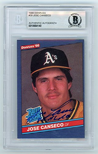 1986 Jose Canseco Rookie Card - Jose Canseco 1986 Donruss Rated Rookie Autograph 86 AL ROY Baseball Card - BAS