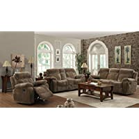 603031 Myleene Reclining Sofa with Plush Bonded Seating Built-In Cup Holders Storage Drawers Under Seating Area and Pocket Coil Seating in Mocha