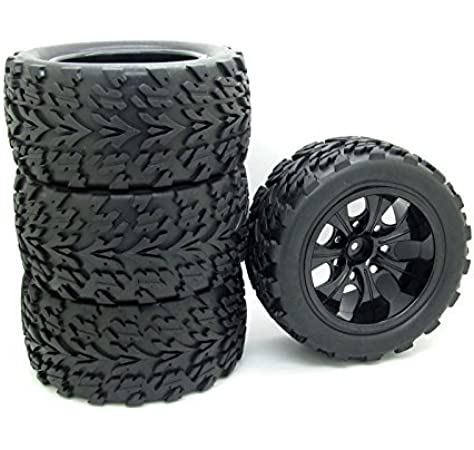 4x 1//10 RC Model Car Chrome White Plastic Wheel Rim Tire Rim Foam set
