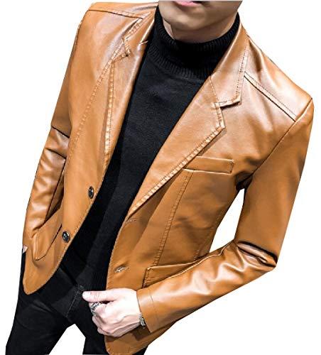 GAGA Men's Moto Lapel PU Long-Sleeves Blazer Outwear 2 XS