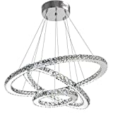 Modern Crystal Chandelier Lighting Ceiling Dining Room Living Room Chandeliers Contemporary Led Light Fixtures Hanging 3 Ring Foyer Girls Bedroom Pendant Lights Cool White For Sale