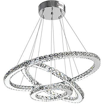 Modern Crystal Chandelier Lighting Ceiling Dining Room Living Chandeliers Contemporary Led Light Fixtures Hanging 3 Ring Foyer Girls Bedroom Pendant