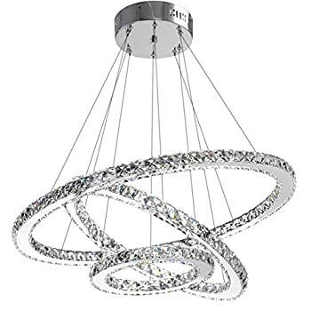 Image of ANTILISHA Modern Crystal Chandelier Lighting Ceiling Dining Room Living Room Chandeliers Contemporary Led Light Fixtures Hanging 3 Ring Foyer Girls Bedroom Pendant Lights Cool White Home and Kitchen