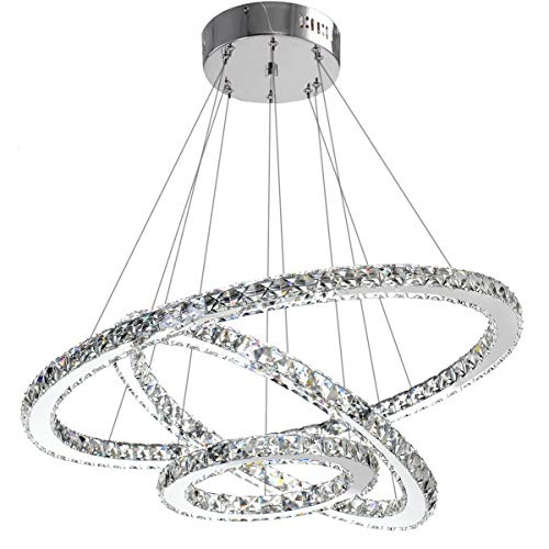 Modern Crystal Chandelier Lighting Ceiling Dining Room Living Room Chandeliers Contemporary Led Light Fixtures Hanging 3 Ring Foyer Girls Bedroom Pendant Lights Cool White