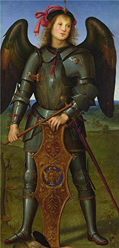 'Pietro Perugino The Archangel Michael ' Oil Painting, 12 X 25 Inch / 30 X 63 Cm ,printed On Polyster Canvas ,this High Definition Art Decorative Prints On Canvas Is Perfectly Suitalbe For Living Room Gallery Art And Home Decor And Gifts