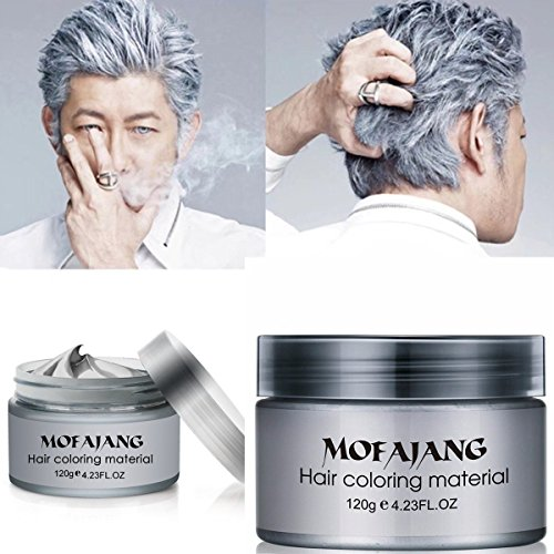Temporary Silver Gray Hair Wax Pomade for People, Luxury Coloring Mud Grey Hair Dye,Washable Treatment with All Day Hold. Non-Greasy Matte Hairstyle Ash for Party, Cosplay ()