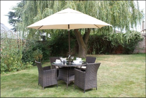 Rattan Nevada Garden Outdoor Furniture Round Table 4 Seater Set Black