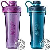 2 Pack Blender Bottle Radian 32 oz. Tritan Shaker Bottle with Loop Top ( Plum : Deep Sea Green)
