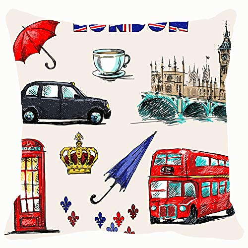 London Symbols Set Drawings buildingsobjects Throw Pillows Covers Accent Home Sofa Cushion Cover Pillowcase Gift Decorative 18x18 inches -