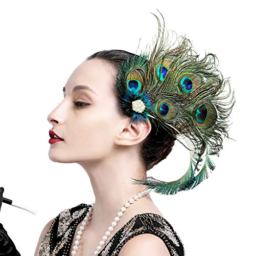 Zivyes 1920s Flapper Headpiece Steampunk Costume Peacock Hair Clip Roaring 20s Accessories for