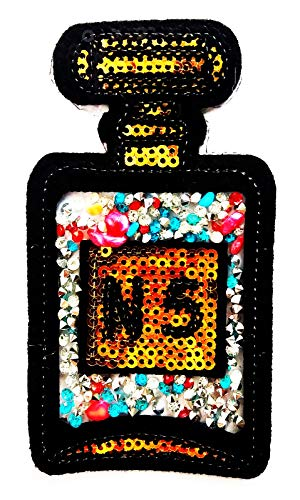 Perfume No.5 Bottle with Diamond Jewelry Gorgeous Girl 2.25X4.25 in MEGADEE Patch Cartoon Kids Symbol DIY Iron on Patch Iron-On Designer Patch Used for Gifts Crafts Jeans Clothing - Crafty Fashion