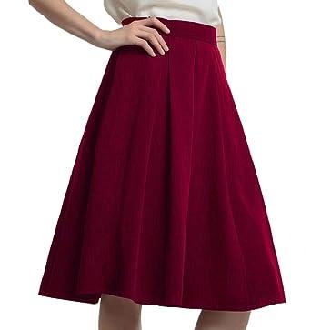 M S W Women s High Waist A-Line Skirt Pleated Knee Length Midi Skirt ... a3206f0fd