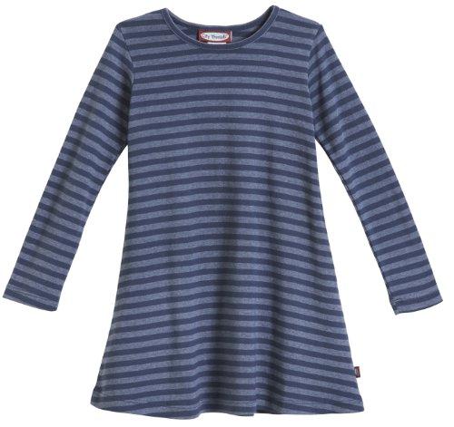 City Threads Big Girls' Cotton Long Sleeve Dress, Striped Midnight, 10