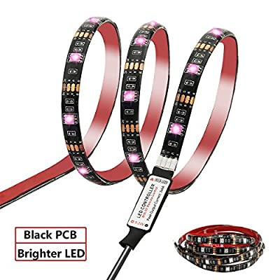 Battery Powered LED Strip Lights,Geekeep Waterproof RGB LED Light Strips,Flexible and Cuttable Rope Light with Battery Pack and USB Cable,17 Key RF Wireless Remote Controller-Black (2m/6.56ft)