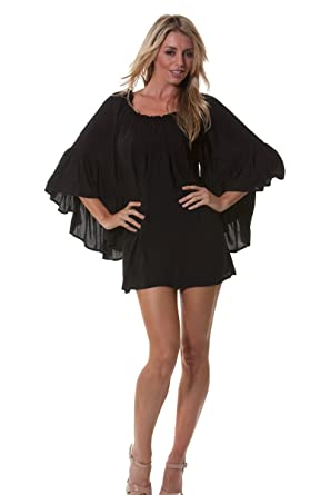 891a9f896817 Peasant Style Off The Shoulder Shirt Dress  Black Rayon at Amazon Women s  Clothing store  Tunic Shirts