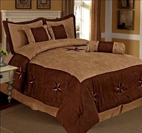 7 Pieces Luxury Western Lodge Oversize Comforter Set Taupe Brown Lone Star Micro Suede Queen Size Bed in a Bag Bedding New