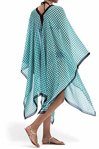 Chiffon Poncho Cover - MOSS ROSE Beach Cover Ups for Women Chiffon Batwing Sleeve Tunic Poncho (Color2)