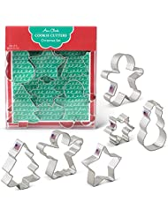 Christmas Cookie Cutters - 6 Piece Boxed Set - Angel, Star, Snowflake, Gingerbread Man, Tree, Snowman - Ann Clark - USA Made Steel