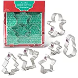 Christmas Cookie Cutters - 6 Piece Boxed Set - Angel, Star, Snowflake, Gingerbread Man, Tree, Snowman - Ann Clark - Tin Plated Steel
