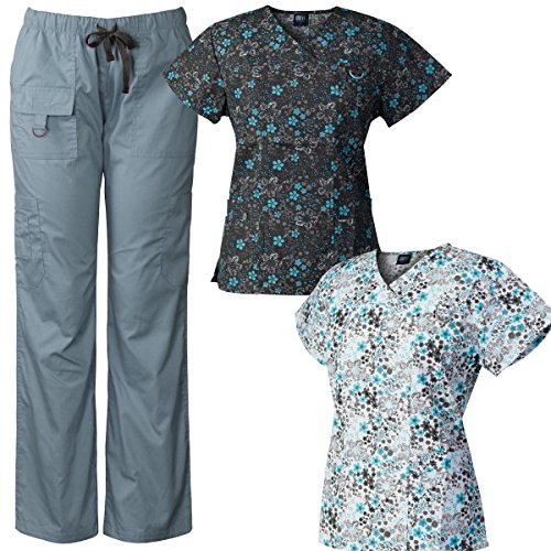 Medgear 3-Piece Women's Scrub Set Multi-Pocket Tops & Pants Combo FDBI-FDWI