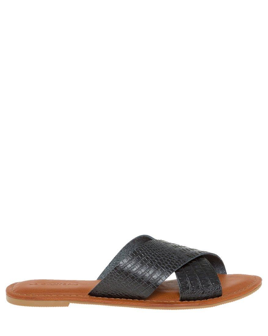 LE CHÂTEAU Women's Croco Criss-Cross Slide Sandal,8,Black
