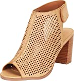 Cambridge Select Women's Open Toe Laser Cutout Perforated Slingback Chunky Stacked Block Heel Ankle Bootie,10 M US,Tan