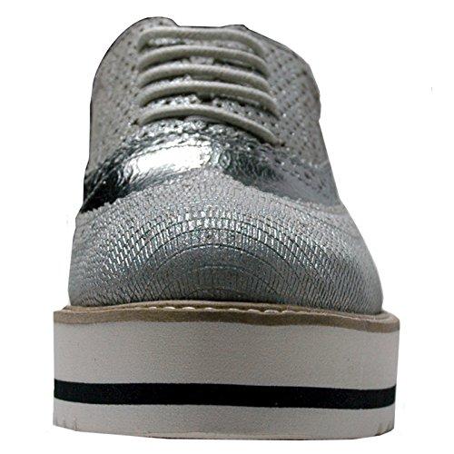 plateado Zapatillas Plateado para SPM mujer Piel de RUxqHP