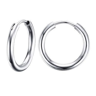 15 2mm hinged sleeper earrings hoops stainless steel earring steel