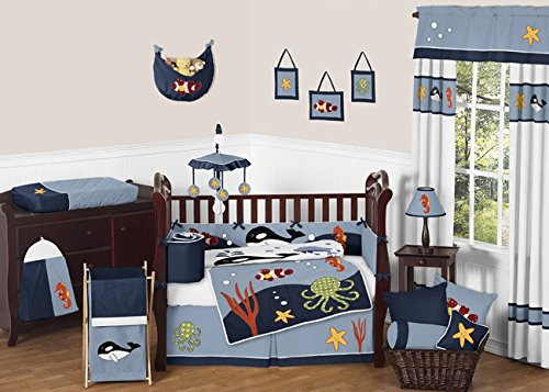 Toddler Bed Skirt for Ocean Blue Kids Childrens Bedding Sets