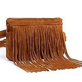 XUEERBAO Women Waist Packs Fashion Simple Design Bags Classic Trendy Waist Bags Vintage Tassel Bags Brown