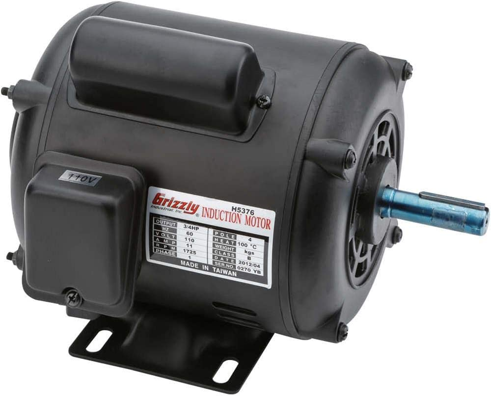 Grizzly Industrial H5376 - Motor 3/4 HP Single-Phase 1725 RPM ODP 110V