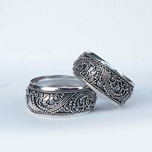 9mm Band Ocean Waves Surf Bali Sterling Silver Ring AR13