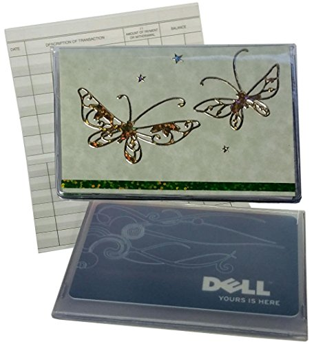 RFID Protected Green Butterfly Debit Card Holder with Debit Register & Photo Insert
