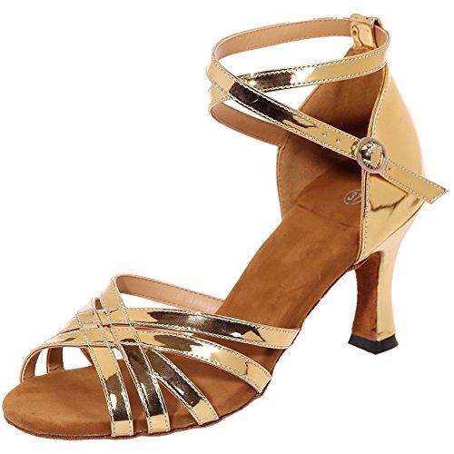 Kebinai Women's Open Toe Criss Cross Strap Dance Shoes Weave Style Salsa Tango Latin Sandals Gold-c37 M EU / 6.5 B(M) US (Opus Strap)