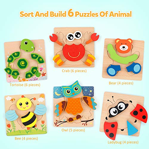 Coogam Wooden Jigsaw Puzzle Set, 6 Pack Animal Shape Color Montessori Toy, Fine Motor Skill Early Learning Preschool Educational Gift Game for 2 3 4 5 Years Old Kid Toddler