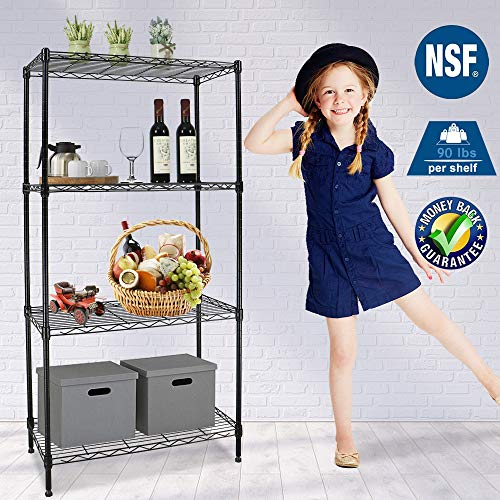 Storage Shelves Wire Shelving Unit Metal Shelf NSF 4-Tier Height Adjustable 24