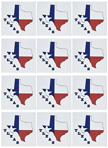 - 3dRose Set of 12 Greeting Cards, Texas state Flag in Outline Map (gc_58725_2)