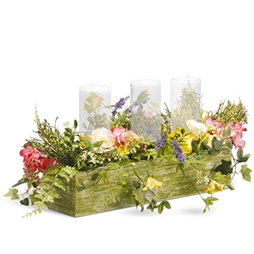 National Tree 22 Inch Spring 3 Candleholder Wood Box with Ferns and Mixed Flowers (Floral Wood Candle Holder)