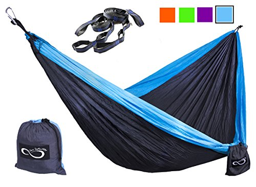 Double-Outdoor-Camping-Hammocks-Weather-Resistant-Lightweight-Parachute-Nylon-Includes-Stretch-Resistant-Tree-Straps-With-16-Loops-Per-Strap-Making-These-Perfect-for-Travel