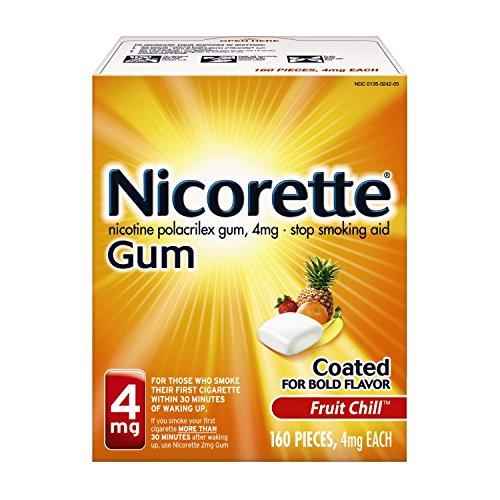 Nicorette Nicotine Gum, 4 mg, Fruit Chill 160 Count