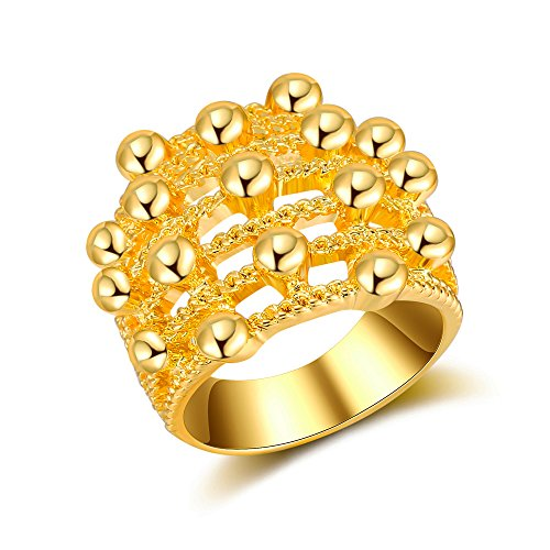 Mytys Custome Jewelry Gold Women Ring Fashion Hollow Unique Dome Ring Size 8