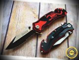 8 INCH OVERALL SPRING ASSISTED RESCUE SHARP KNIFE WITH POCKET CLIP - Premium