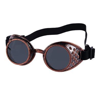 Lunettes de soleil style vintage Steampunk, lunettes de cosplay cosplay de soudage (Rouge)