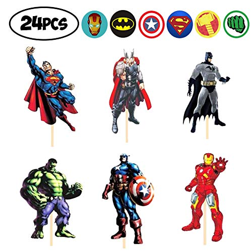 24 PCS Avengers Toppers - Superheroes Cupcake Topper - Children Party Decoration - Hero Party Supplies -