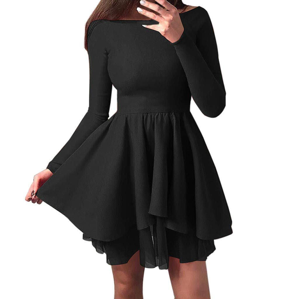SADUORHAPPY Women Long Sleeve Off The Shoulder Dress Slash Neck Asymmetric Lace Hem Summer Fall Sundress Holiday by SADUORHAPPY Dress