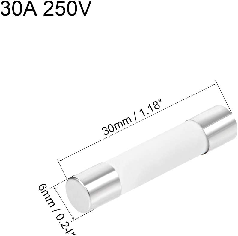 sourcing map Automotive Cartridge Fuses 15A 250V 6x30mm Ceramic Fast Blow Replacement for Car Amplifier Energy Saving Lamp Ballast 6Pcs