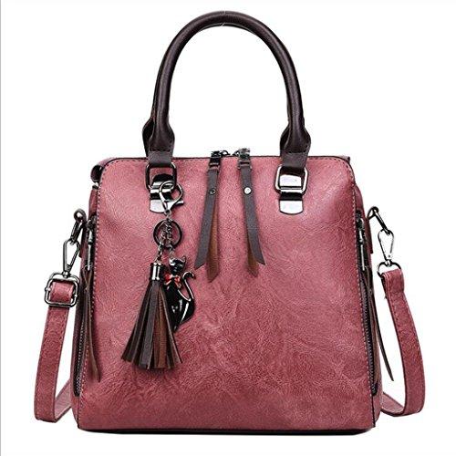 Tote Bag Women Handbags Pu Handbags Retro Tassels Shoulder Messenger Bag Package Shell (size: 25 * 12 * 23cm) (color: Black) Pink