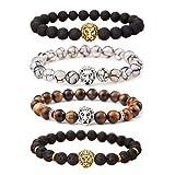 MIKINI Unisex Mens Bracelets Set - Lava Rock Black Matte Agate Dragon Vein Agate Tiger Eye's Stone Beads Bracelet, Gold & Silver Plated Lion Head