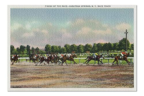 - Saratoga Springs, New York - Jockeys Finishing Horse Race at Race Track (20x30 Premium 1000 Piece Jigsaw Puzzle, Made in USA!)