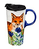 Cypress Home Flowers and Fox Ceramic Travel Coffee Mug with Gift Box, 17 ounces